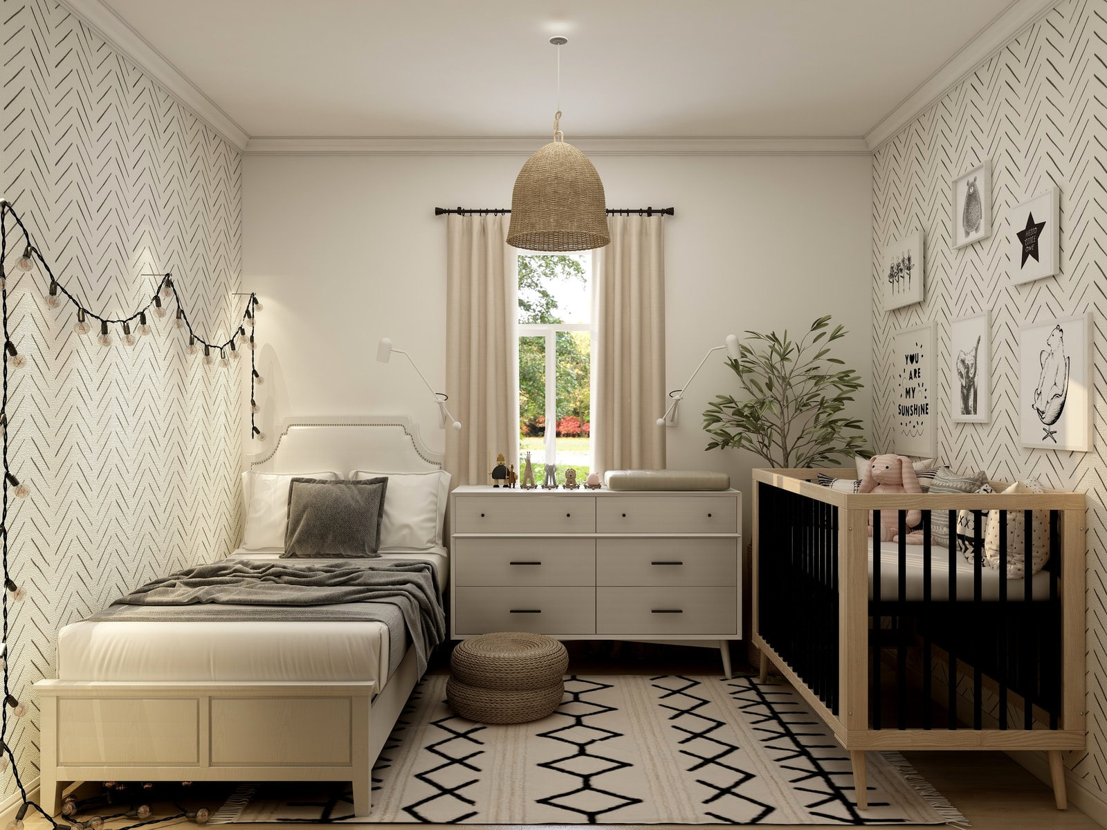 white wooden bed frame with white bed linen